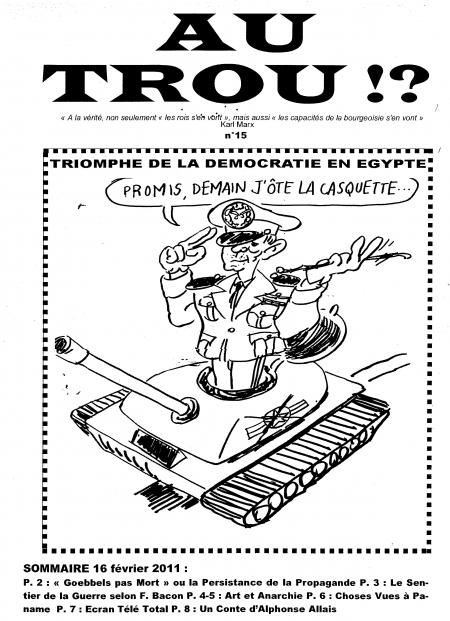 au trou,fanzine,satirique,marechal,tantaoui,caricature,egypte